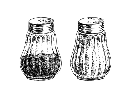 Hand drawn salt and pepper shakers isolated on white background. Vector illustration Illustration