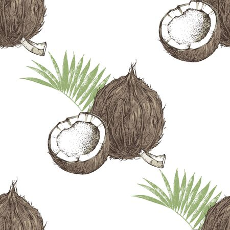 Seamless pattern with hand drawn coconut with half and leaves Иллюстрация