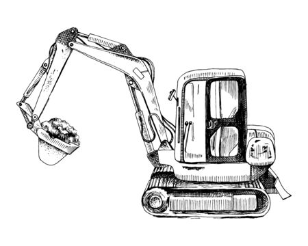 Hand drawn mini excavator Illustration