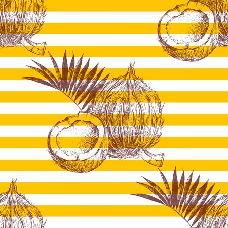 Seamless pattern with hand drawn coconuts  イラスト・ベクター素材