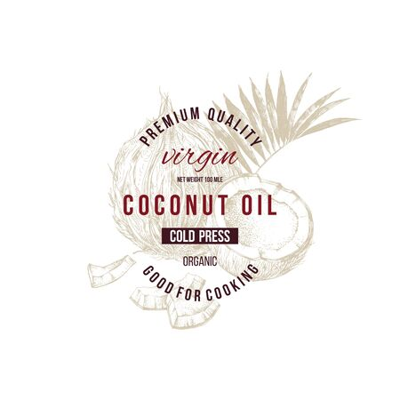 Coconut oil label with type design over hand drawn coconut Banque d'images - 127494903