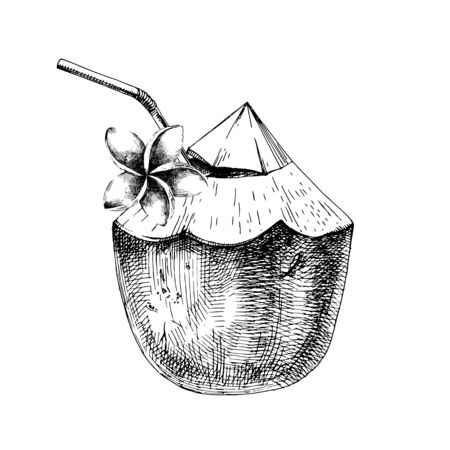 Green coconut with frangipani flower and drinking straw Illusztráció