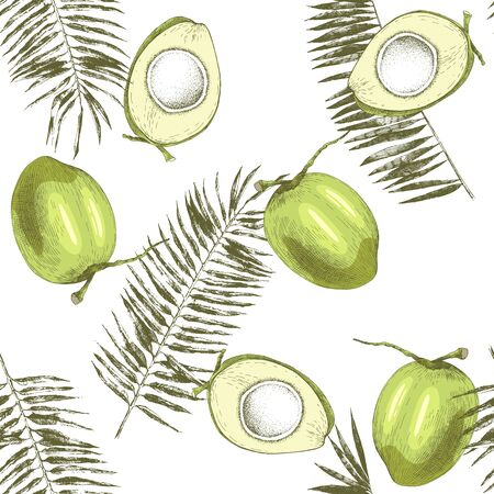 Seamless pattern with hand drawn coconuts and palm leaves