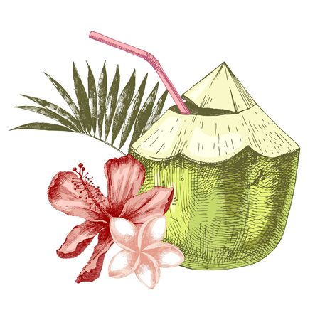 Green coconut with flowers, palm leaves and drinking straw