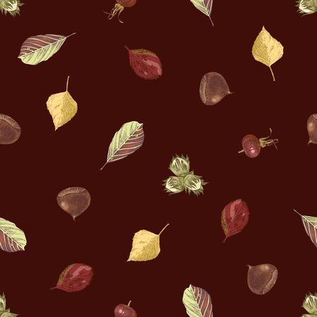 Hand drawn seamless pattern with autumn leaves on dark background. Vector illustration Illustration