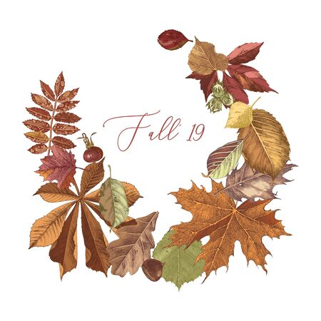 Hand drawn autumn wreath with type design
