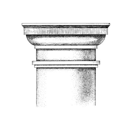 Hand drawn Capital of the Tuscan order. Classical architectural support. Vector illustration Illustration