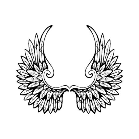 Hand drawn wings Banque d'images - 129247141