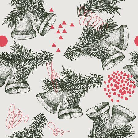 Seamless pattern with Christmas bells. Hand drawn illustration Иллюстрация