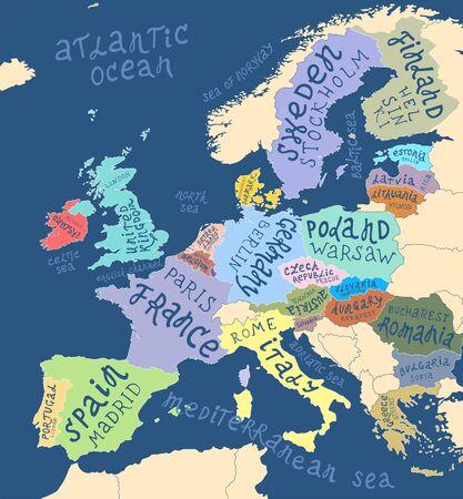 Carte de l'Europe avec lettrage dessiné à la main Vecteurs