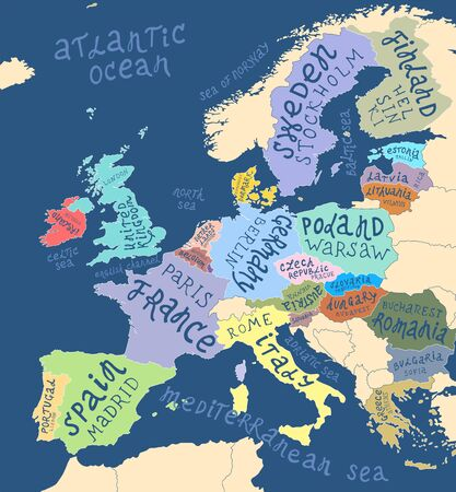 Mapa Europy z ręcznie rysowanym napisem Ilustracje wektorowe