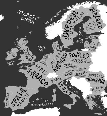 Map of Europe with hand drawn lettering, countries with capitals