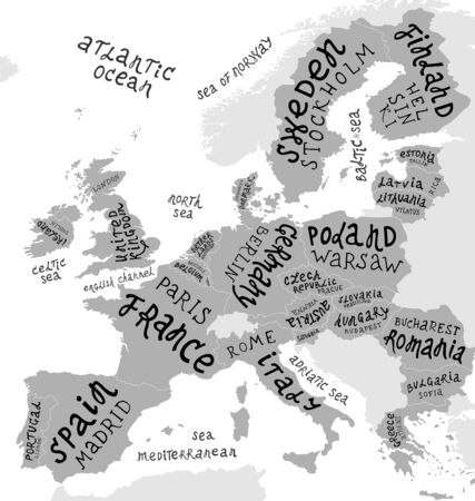 Map of Europe with hand drawn lettering