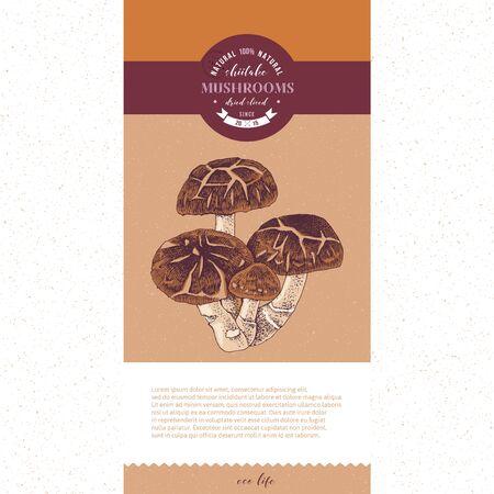 Package design for dried sliced shiitake mushrooms 向量圖像