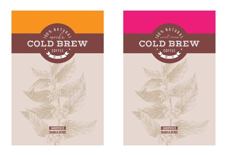 2 cold brew coffee labels with hand drawn coffee branch. Vector illustration Ilustração