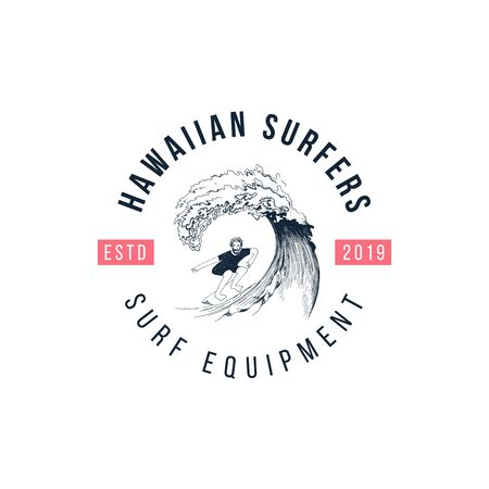 Hand drawn emblem with surfer on the wave. Type design - Hawaiian surfers - surf equipment. Vector illustration in retro style  イラスト・ベクター素材