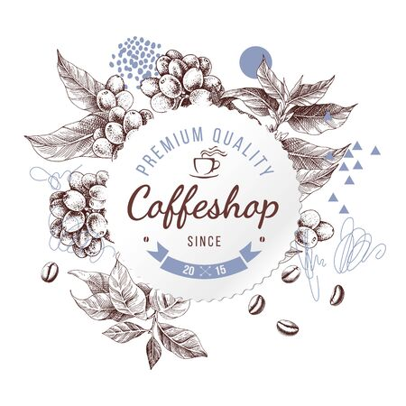 Coffeshop round paper emblem over hand sketched background with coffee plant and beans Ilustrace