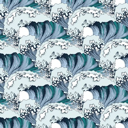 Hand drawn seamless pattern with sea waves