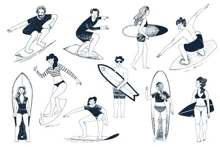 Hand drawn surfers set. Men and women surfing