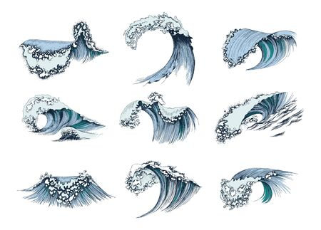 Set of hand drawn sea waves Illustration