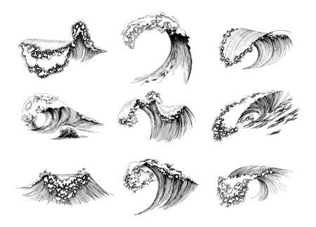 Set of hand drawn sea waves Illusztráció