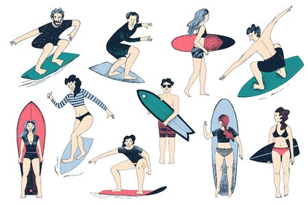 Hand drawn surfers set. Men and women surfing Archivio Fotografico - 133435467