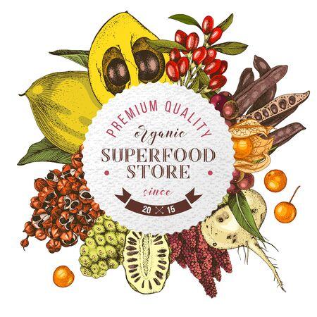 Superfood store round emblem