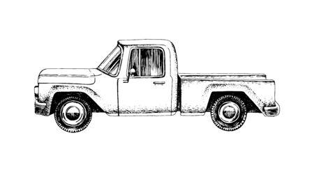 Hand drawn pickup car on white