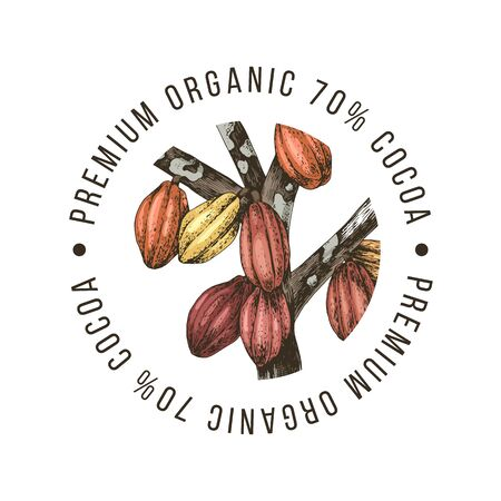 Premium organic cocoa label on white