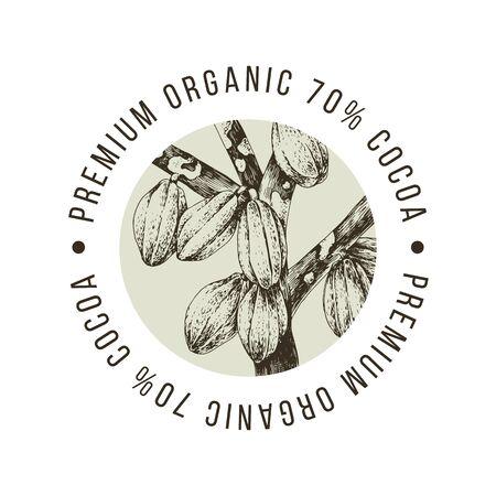 Etiqueta de cacao orgánico premium con granos de cacao dibujados a mano en el te. Ilustración vectorial