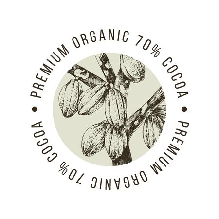 Premium organic cocoa label with hand drawn cocoa beans on the thee. Vector illustration