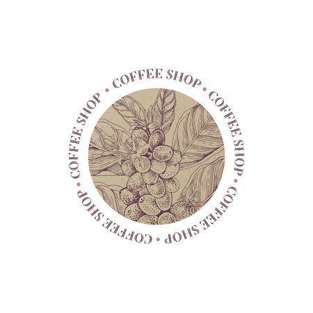 Coffee shop round emblem with coffee branch Vector Illustratie