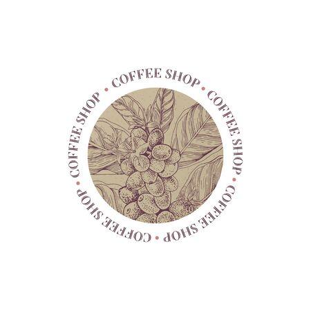 Coffee shop round emblem with coffee branch Vektorové ilustrace