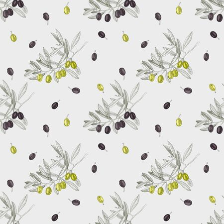 Seamless pattern with green and black olives and olive branches