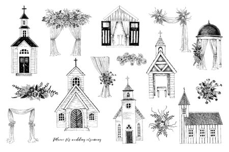 Hand drawn places for wedding ceremony. Churches, chapel, floral arches. Vector sketched illustration in vintage style Illustration