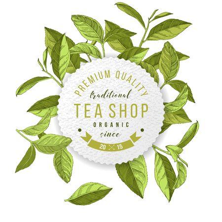 Tea shop emblem with hand drawn tea leaves