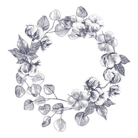 Hand drawn cotton and eucaliptus wreath