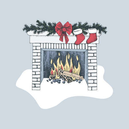 Christmas fireplace vector image Illustration