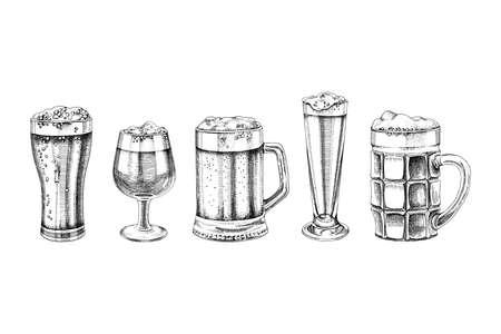 Set of hand drawn beer glasses