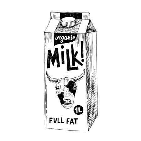 hand drawn fresh milk packaging container
