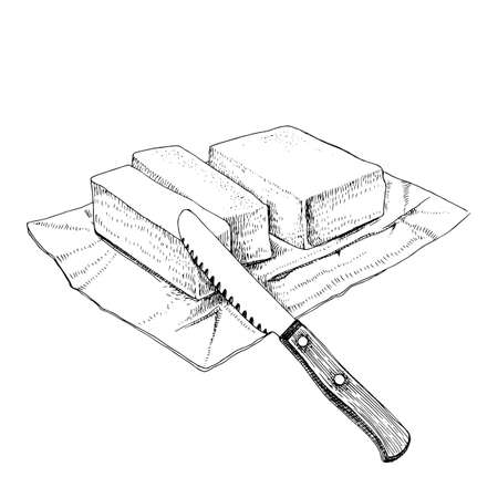 Hand drawn sketch butter with a knife.