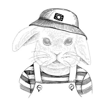Hand drawn portrait of rabbit with accessories Stock Illustratie