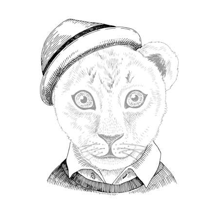Hand drawn portrait of Lion baby with accessories Stock Illustratie