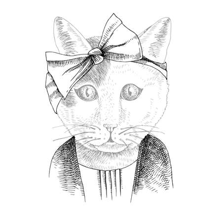 Hand drawn portrait of funny Cat with accessories Stock Illustratie