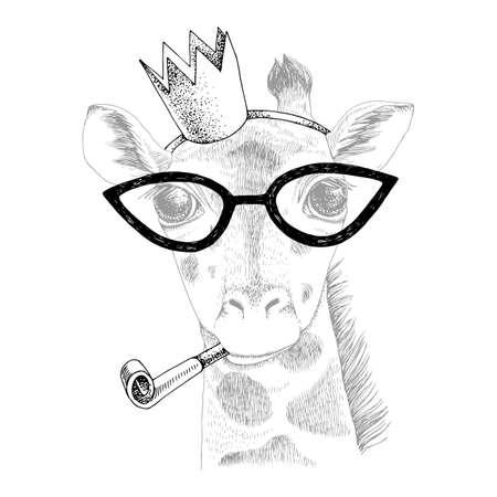 Hand drawn portrait of Giraffe with accessories