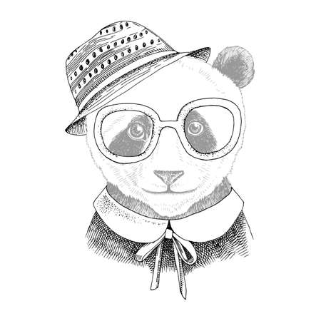 Hand drawn portrait of Panda baby with accessories