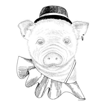 Hand drawn portrait of funny pig with accessories