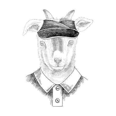 Hand drawn portrait of Goat baby with accessories Stock Illustratie