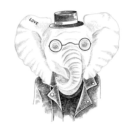 Hand drawn portrait of elephant with accessories Stock Illustratie