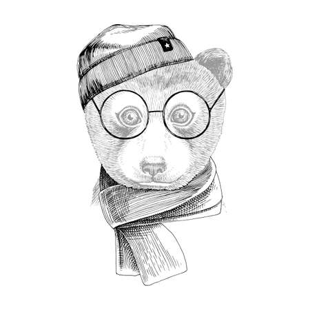 Hand drawn portrait of Bear baby with accessories Stock Illustratie